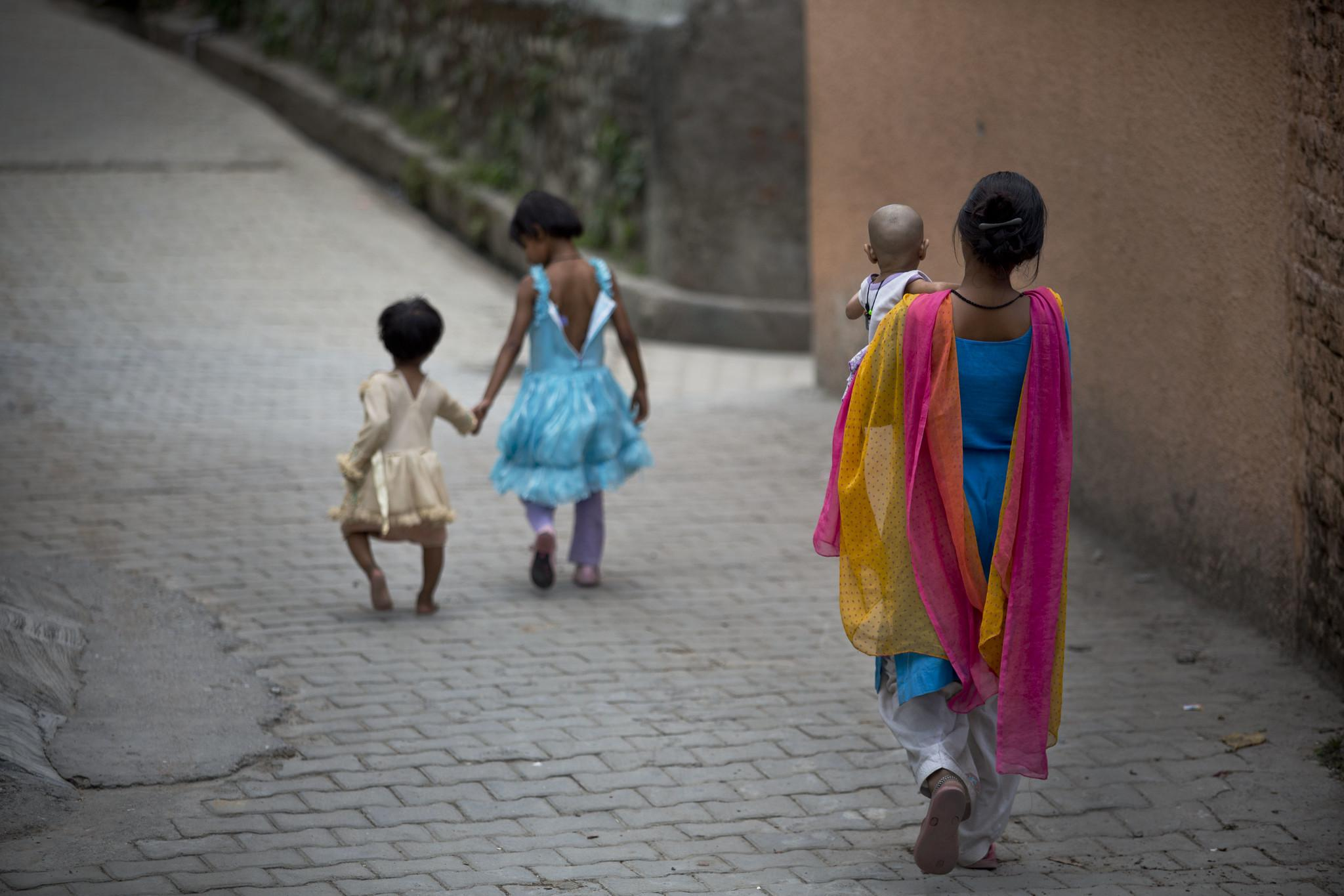 children walking away