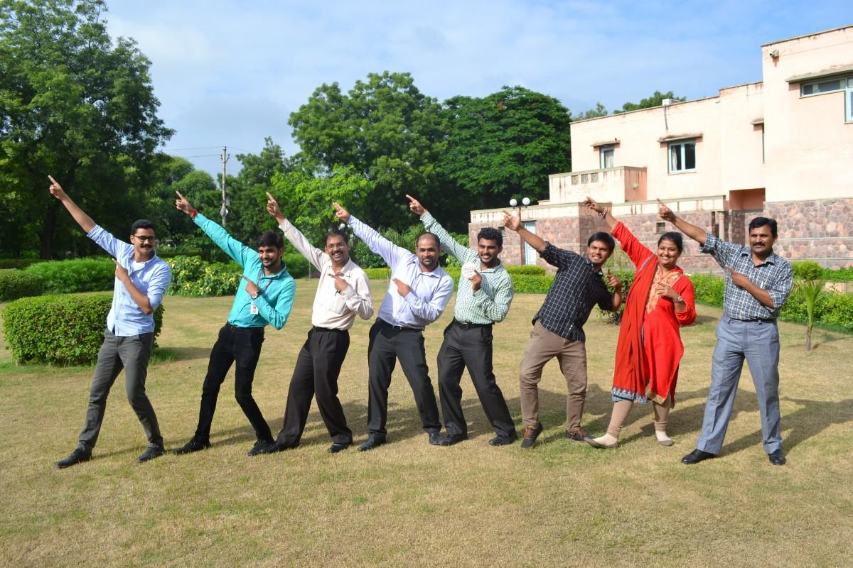 "Team India mimicking an Olympic ""Bolt"" gesture to celebrate successful completion of the PMA2020 Data Management Olympics"